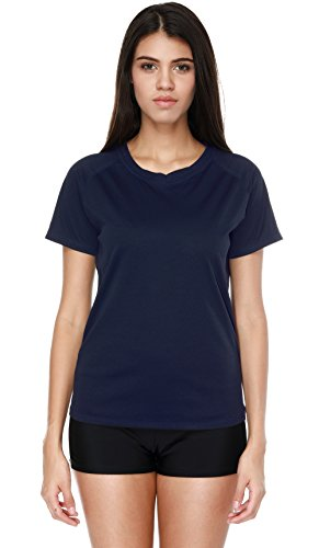 Attraco Damen Schwimmshirt Kurzarm Badeshirt Rash Guard UV Schutz 50+ Blau (38)L