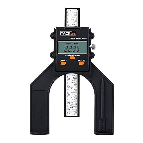 Tiefenmesser, Tacklife MDG01 Digitaler Profiltiefenmesser, Selbst Stehende Tiefenlehre mit Magnetischen Füßen, Perfekt für Holzbearbeitung und Maschinenbau