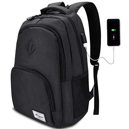 AUGUR Mochila Hombre para Portátil Mochila Escolar Casual con Puerto USB Resistente al Agua Oxford-35L