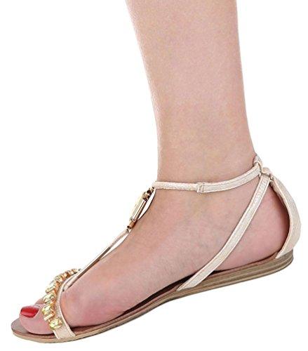 Damen Sandalen Schuhe Sommerschuhe Strandschuhe Riemchen Pumps Weiß Beige 36 37 38 39 40 41 Model Nr1Beige