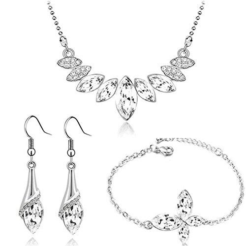 Parure ornée de cristaux swarovski elements avec bracelet papillon plaqué or blanc Blanc