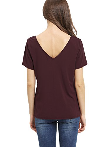 Romwe Damen Top Basic Schnüren Kreuz V Ausschnitt Locker Band T-Shirt Burgundy