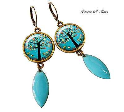 boucles d'oreille cabochon arbre aux fleurs bleu turquoise bronze gouttes