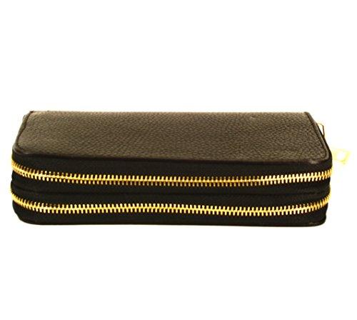 Portafoglio in pelle, con 2chiusure lampo 20x 11x 4cm–Made in Italy -, nero, 20 x 11 x 4 cm nero