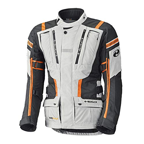 Held Motorradjacke, Motorrad Jacke Hakuna II Adventurejacke grau/orange L, Herren, Enduro/Reiseenduro, Ganzjährig, Textil