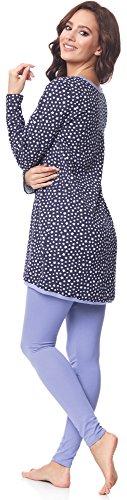 Be Mammy Damen Langarm Pyjama mit Stillfunktion BE20-178 Navy-Sterne-Blau
