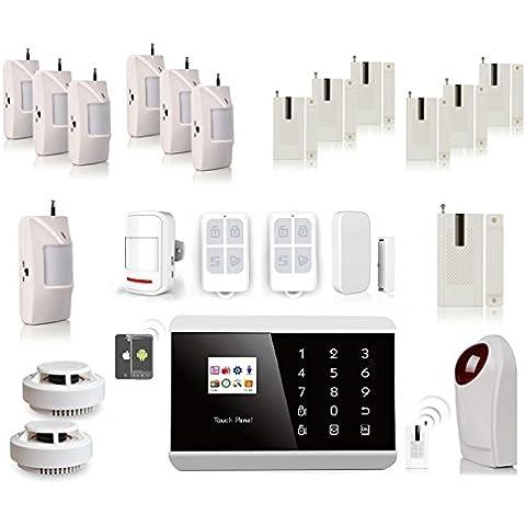 Kit Alarma completo + accesorios–Alarma inalámbrica compatible ft ADSL SIM aplicación iPhone Android + 2mandos a distancia + 8detectores de presencia PIR + 8detectores de apertura de puerta + 2detector de humo + 1sirena con flash