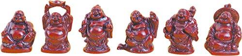 Lot de 6 bouddhas resine rouge - 5 cm