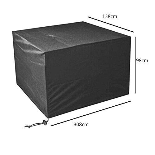 Meijunter 308*138*98cm Noir Jardin Meubles Imperméable Boîtier étui Protecteur pour Carré Cube Table Banc