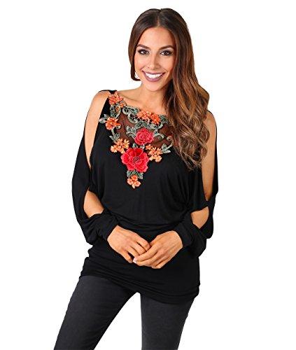 KRISP® Damen T-Shirt Top mit Schulterausschnitten Schwarz (5575)