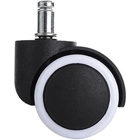 LIHAO 5x Ruedas Giratorias para Sillas de Oficina 11mm/50mm (Negro+Blanco)