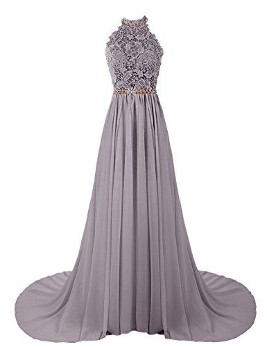 Dresstells, Robe de soirée Robe de cérémonie Robe de gala mousseline dentelle forme princesse dos nu traîne mi-longue Gris