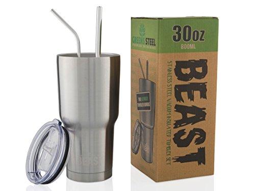 BEAST Edelstahl Becher Vakuumisolierte Tasse Kaffeebecher Doppelwandige Reiseflasche Thermobecher mit Spritzfestem Deckel, Paket mit 2 Strohhalmen, Rohrbürste & Geschenkbox von Greens Steel (30oz, Stahl)