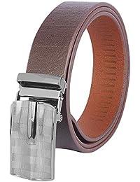 SPAIROW Men's Genuine Leather Belt- AUTOLOCK (RK-0402) BROWN