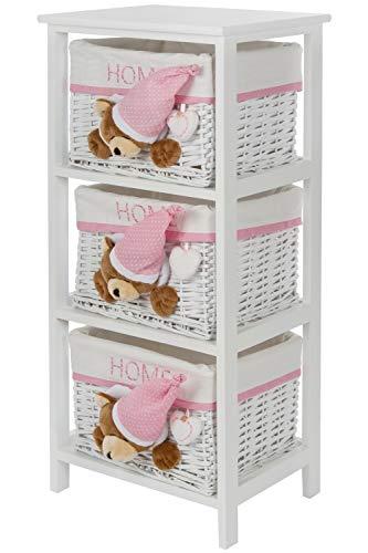 WOHNANDO Regal mit 3 Körben, weiß/rosa/Bär mit Schlafmütze und Home Stickung ideal für jedes Kinderzimmer - Weiß 3 Regal Bar