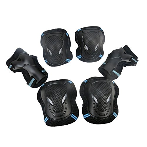 BBring BMX Bike Knee Pads and Elbow Pads Wrist Guards Sports Protective Gear Safety Pad Safeguard Protective Gear Set for Biking, Riding, Cycling and Multi Sports Safety (Blue-L)