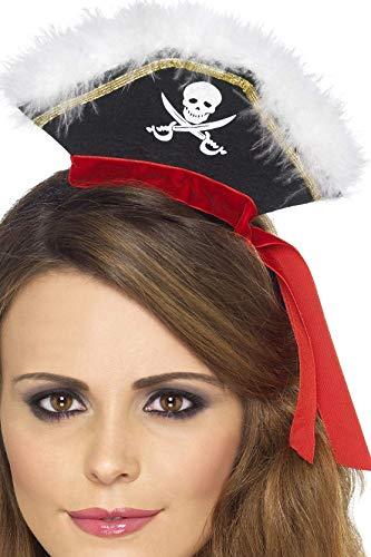 Smiffys Damen Piratenhut auf Haarreif, One Size, Schwarz, 22524