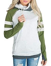 Aleumdr Womens Long Sleeve Fleece Striped Pullover Hoodie Sweatshirts with  Pockets S-XXL 909dcc295