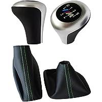 BMW E36 E46 5 Stick Gear Pomello leva cambio-Pomello del cambio, in pelle, con Logo, colore: argento, per freno a mano, colore: verde