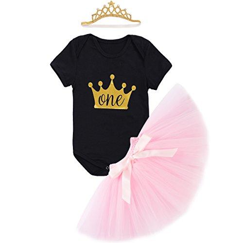 Baby Mädchen 1. Geburtstag Tutu Kleid Set Romper + Rock Tütü Pettiskirt + Krone Stirnband Geschenk Säuglings Prinzessin 3 Stück Outfits Verkleidung Fotoshooting Kostüm (Schwarz Kostüm Zahnfee)