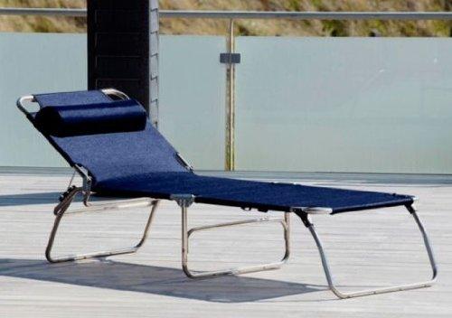 Amigo Big - Chaise-Longue bleu foncé/textile/sans accoudoirs