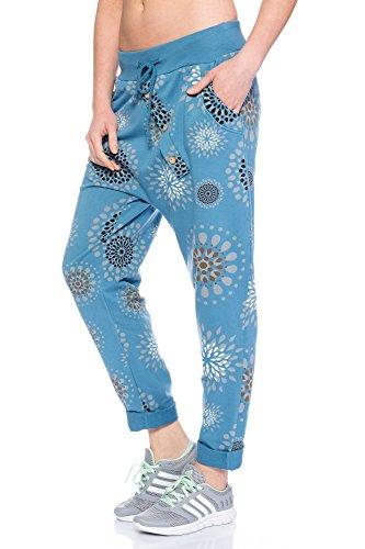 AM1205 Damen Jogginghose Freizeithose mit Knopfleiste und Mandala Druck Blau