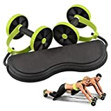 Double Wheels Ab Roller Abdominal Trainer with Band Pull Rope Waist Wheel