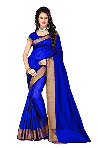 Birami Ethnics Women's Cotton Silk Saree With Blouse Piece (Bf133Bluea_Blue)