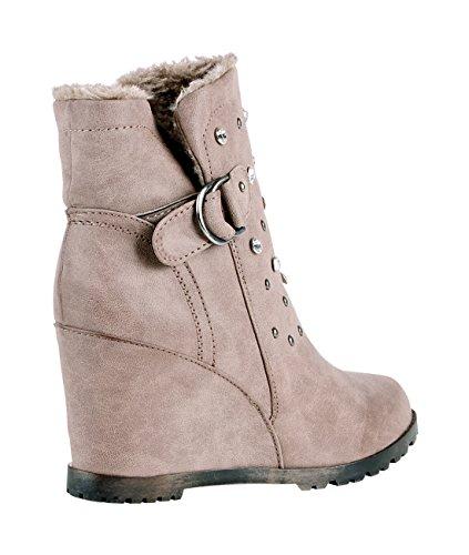 Damen Gefütterte Winter Ankle Boots mit Keilabsatz und Nieten Details Beige 4058