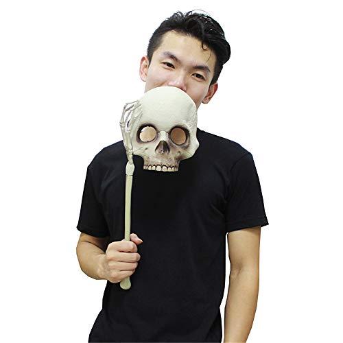 WXH Halloween Scary Horror Face Holding Schädel Skelett Maske, Geburtstag Weihnachten Ostern Geschenke Schädel Skelett Kopf, für Erwachsene Neuheit Kopfbedeckungen (Kostüm Kopfbedeckung Zähne)