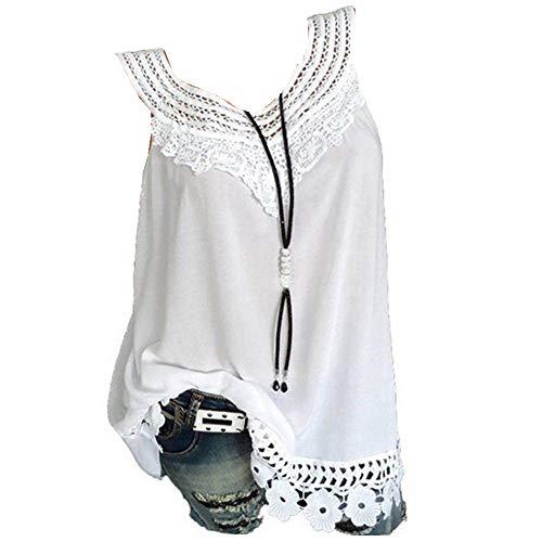 ITISME Été Débardeurs Femmes Grande Taille Sexy Casual O Cou Rond T-Shirt sans Manches Femme Couleur Pure Dentelle Loose Top Blouse Hauts Femme S-5XL