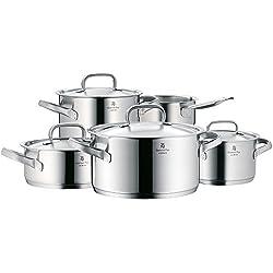 WMF Gourmet Plus Topfset 5-teilig mit Metalldeckel, Kochtopf, Stielkasserolle, Cromargan Edelstahl mattiert, Innenskalierung, Dampföffnung, induktionsgeeignet, spülmaschinengeeignet
