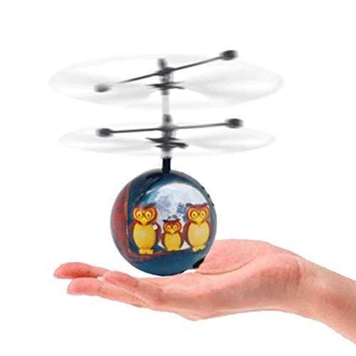 Zgifts RC Flying Ball Helicopter Owl Night Light Ball Built-in Shinning LED Lighting und Music Children Kids Birthday Girls Geschenk für Weihnachten Halloween Toys