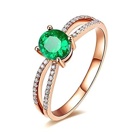 JiangXin Bague Femme Nano Russe Imitation Emeraude coupées créé green emerald anneau ovale Plaqué Platine Or Rosé Pour Fiançailles Alliance Mariage Anniversaire Amour