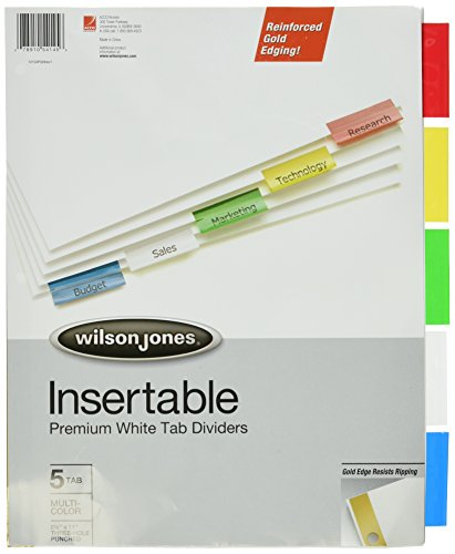Wilson Jones doppelt gold verstärkt Pro einführb Tab Teiler, weiß Papier, Buchstabe Größe 5 Tabs 1 Stück merhfarbig - Weiß 5 Teiler Tab