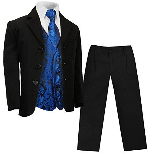 Paul Malone - Jungenanzug Kinderanzug festlich (Slim Fit) schwarz + blaues Paisley Hochzeit Westen Set 10