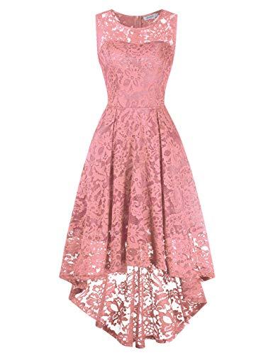KOJOOIN Damen Abendkleider Cocktailkleid Brautjungfernkleider für Hochzeit Unregelmässiges Kurzes Spitzenkleid Ärmellos Pink Rosa S/34-36