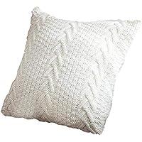 45cm x 45cm Funda de almohada de punto, accesorios para el hogar Hilo de lana gruesa funda de cojín cuadrado, accesorios de fotografía nórdicos sin núcleo