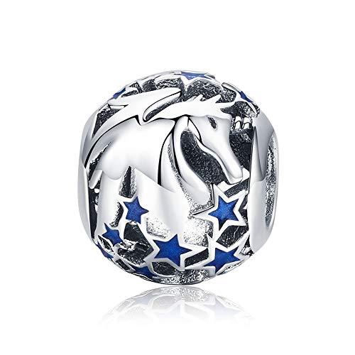 Damen Bead Charm Sanftmütig Pferd 925 Sterling Silber Fit für Pandora Charm Armband und Halskette, Schmuck DIY Herstellung Wulst