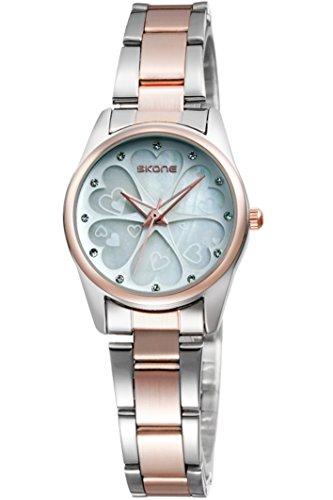 Skone Damenuhr Rosegold Silber Edelstahl Blume Strass lieb elegante schöne Analog Quarzuhr Armbanduhren