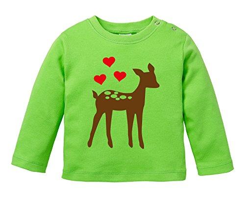 Niedliches Reh mit drei Herzchen - Bio Baby Longssleeve (T-shirt Weichen Baum)