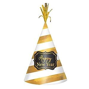 """Amscan-250636""""sombrero de cono de papel de aluminio), diseño de rayas, color blanco/dorado, 22,86cm"""
