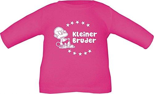 Baby / Kinder T-Shirt langarm mit Druck Kleiner Bruder / Größe 60 - 152 in 6 Farben Fuchsia
