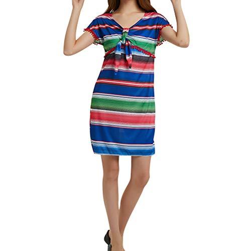 Amosfun Womens mexikanische Fiesta Kleid mexikanischen Stil Kostüm Kleid Halloween Party Kleid (blau) (Party Fiesta Halloween)