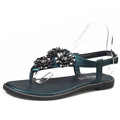 Sandali Summer Club calzature outdoor in similpelle Office & Carriera Dress tacco piatto nero oro champagne a piedi Green