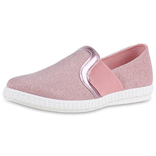 Slip-Ons Damen Glitzer Slipper Metallic Sneakers Freizeit Flats Rosa