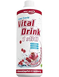 Best Body Nutrition Low Carb Vital Drink, Granatapfel-Cranberry, Getränkekonzentrat, 1 l