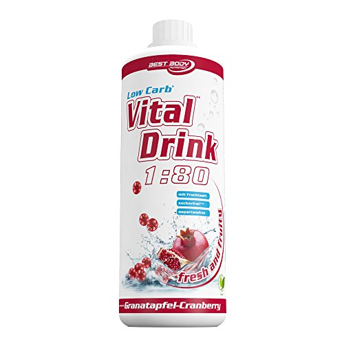 Best Body Nutrition - Low Carb Vital Drink, Granatapfel-Cranberry, 1000 ml Flasche (Training Vitamine)