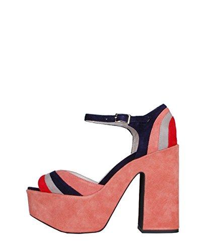 Jeffrey Campbell Candice Suede Pink Navy Sandals - Sandali Da Donna Rosa Blu Pink