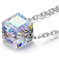"""NINASUN """"Hermosa Vida"""" collar de Plata Aurora Borealis Cubo Cristales de SWAROVSKI®"""